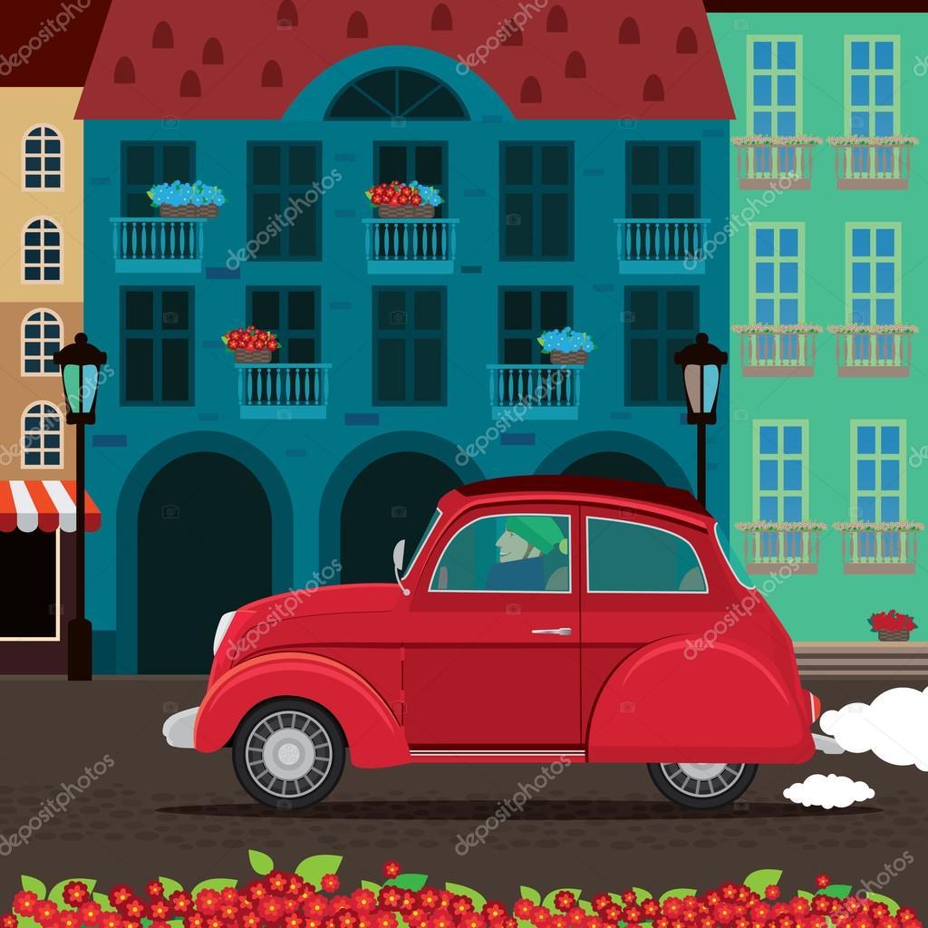 Retro car rides through the old town — Stock Vector © ariadnaS #92749520