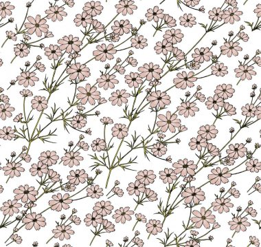 Seamless pattern. Beautiful blooming realistic isolated flowers. Vintage background fabric. Asters Cosmos wildflowers. Wallpaper baroque. Drawing engraving sketch. Vector victorian style illustration. icon
