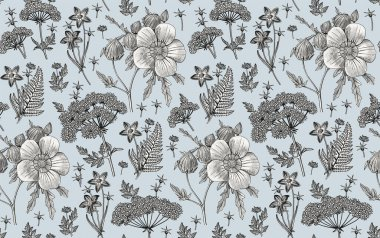 Seamless pattern fabric. Beautiful realistic isolated flowers. Vintage background. Hibiscus, Wahlenbergia Hemlock fern wildflowers. Wallpaper baroque. Drawing engraving. Vector victorian illustration icon