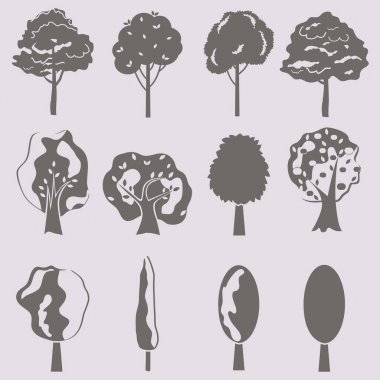 Vector collection of tree silhouettes isolates. Set of abstract stylized trees. icon