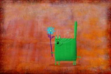 A funny joyful green cat holding a big blue flower on the background painted linen. stock vector
