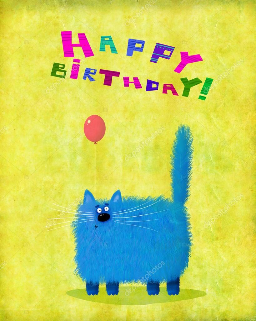 A Cute Birthday Card Blue Fluffy Cat Holding Pink Balloon Standing On The Yellow Gradient Background Photo By Andrei Sikorskii