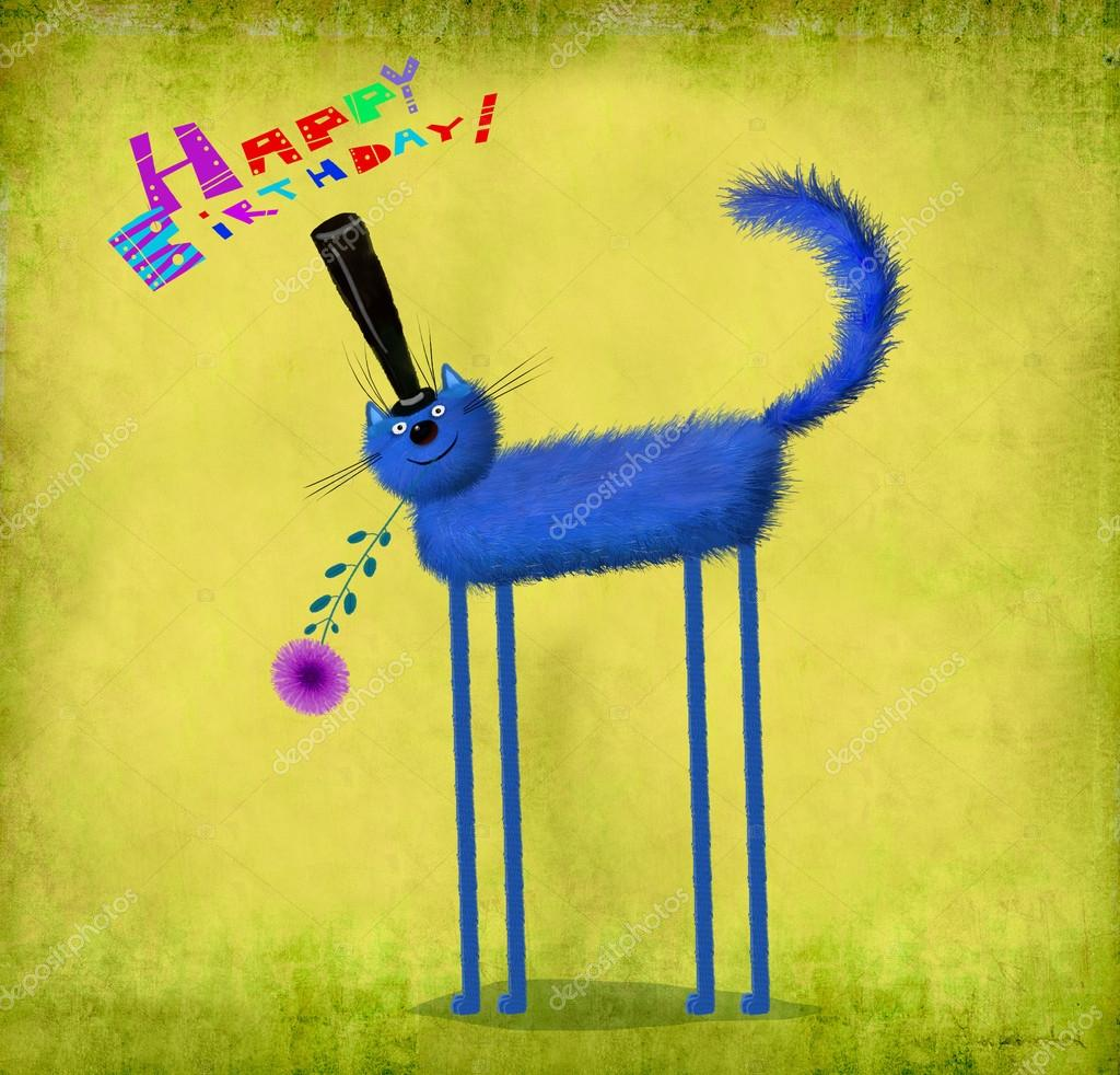 Birthday card blue cat in top hat holding flower stock photo a cute birthday card a friendly fluffy blue cat in top hat holding a nice violet aster photo by andreisikorskii bookmarktalkfo Choice Image
