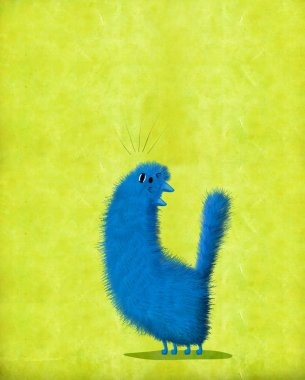 A blue cat throwing over its head and singing a love song. stock vector