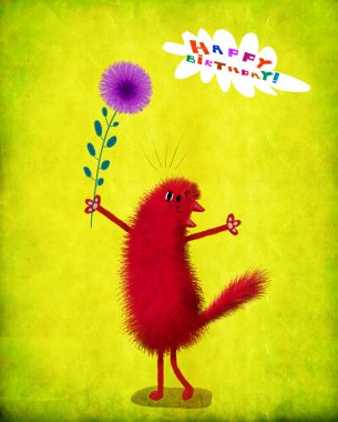 A cute birthday card: a lovely red fluffy cat singing a love song. stock vector