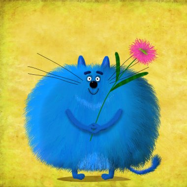 Big Blue Cat Holding Violet Aster
