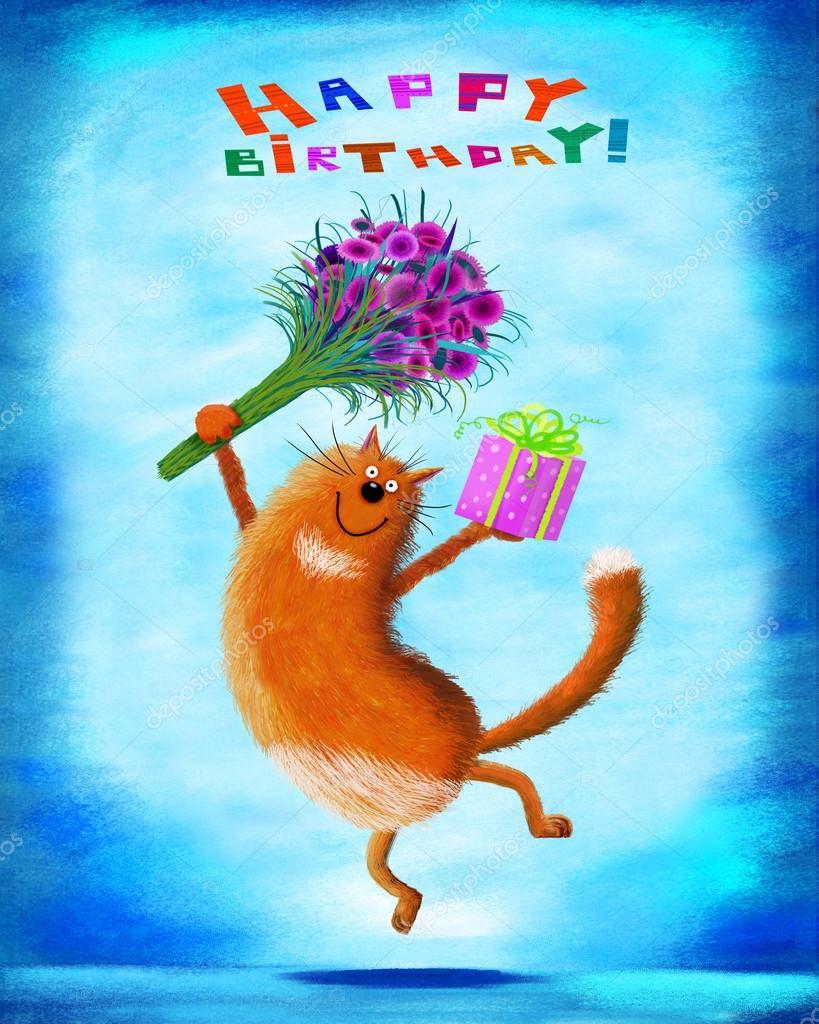 Geburtstag Karte Rot Springen Katze Mit Blumen Und Geschenk