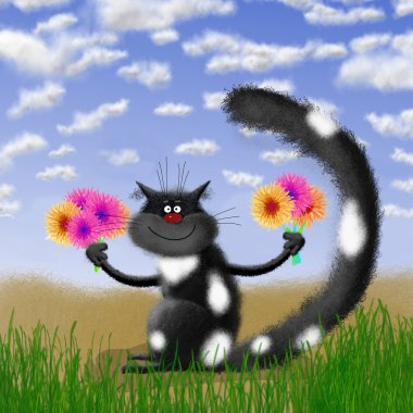 Black Cat Holding Flowers in Grassland