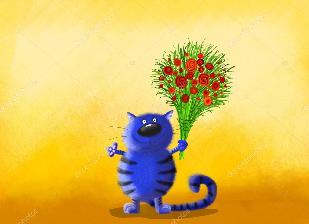 Фото кот с цветами
