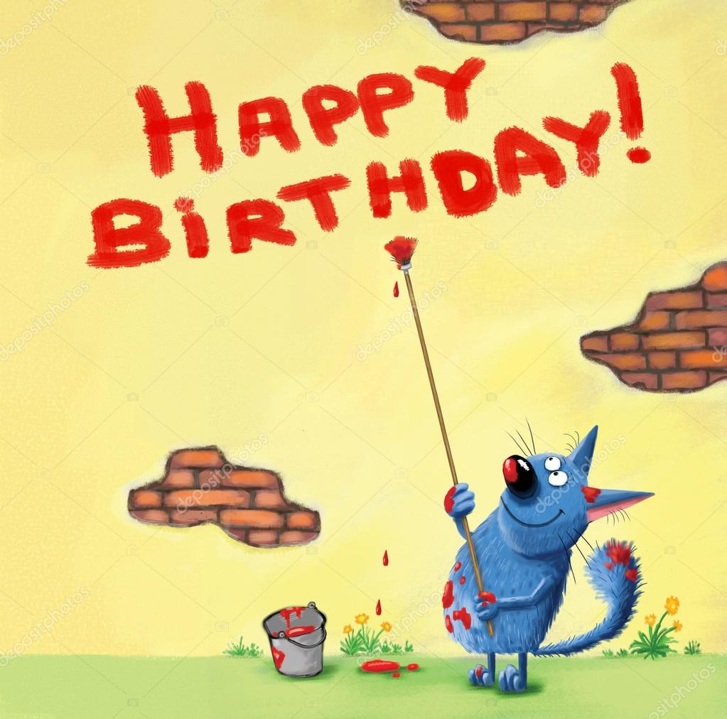 Happy Birthday Card Cat Writing on the Wall — Stock Photo ...