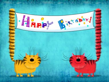Happy Birthday Card Two Cats Holding Placard