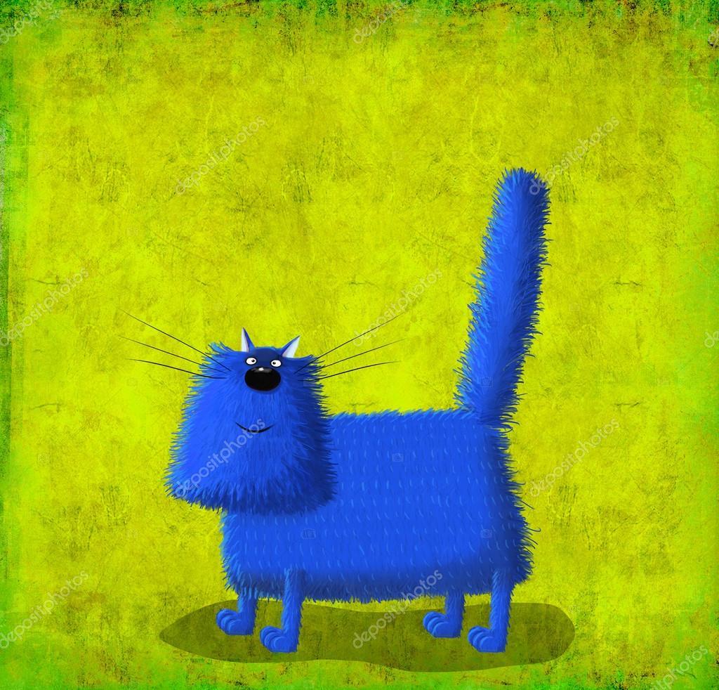 Gatto Lanuginoso Blu Su Sfondo Verde Pistacchio Foto Stock