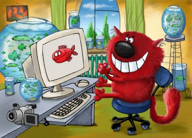 A funny red cat playing on the computer in the room with lots of aquariums. stock vector