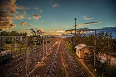Railway Russian Railways beautiful sunset