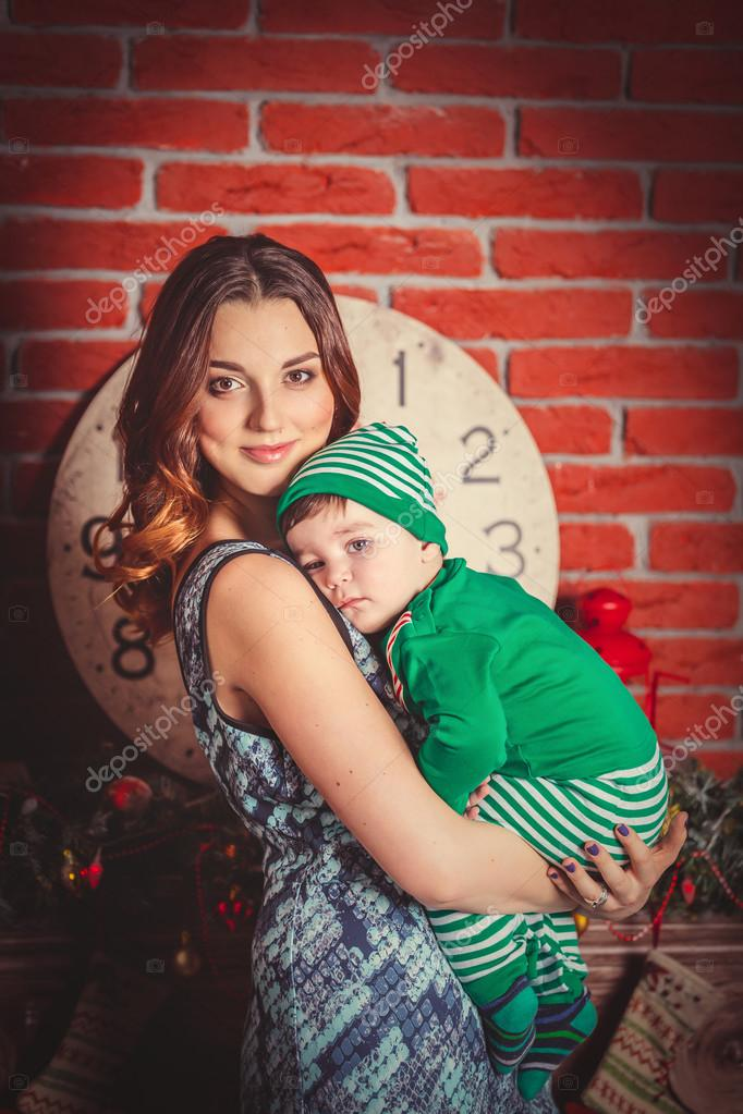 Mother with son on Christmas