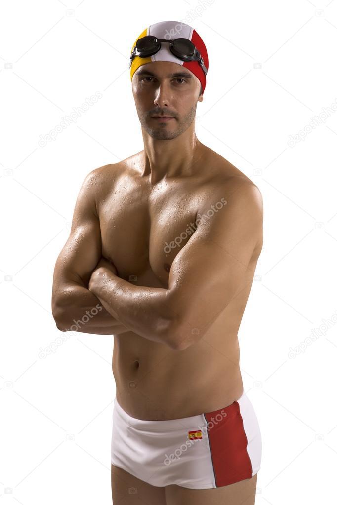 Ritratto di uomo in costume da bagno; nuotatore professionista con ...