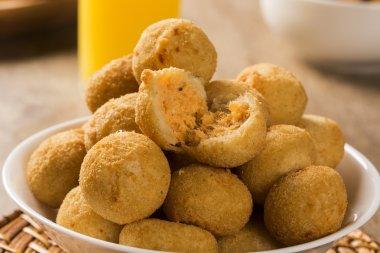 Brazilian snack. chicken dumpling with curd