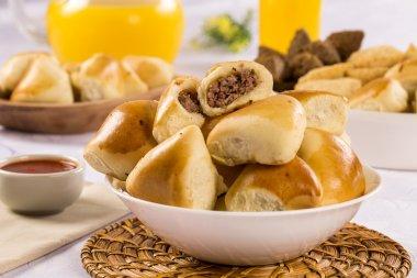 Brazilian snack. Meat Esfiha portion.