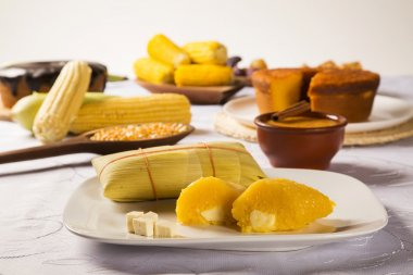Pamonha with cheese - typical food of green corn - tasty and che