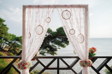 destination wedding arch with sea view