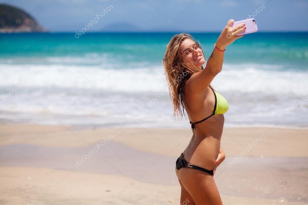 La Selfie En Playa Bikini De Chica dxCQBWroe