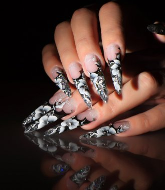 Black and white design nails.