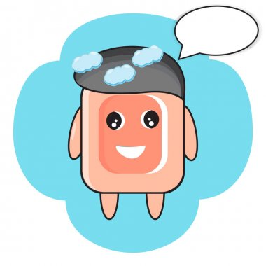 Vector illustration of a bath soap mascot icon