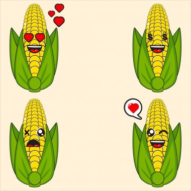 Cute corn mascot collection vector design eps 10 icon