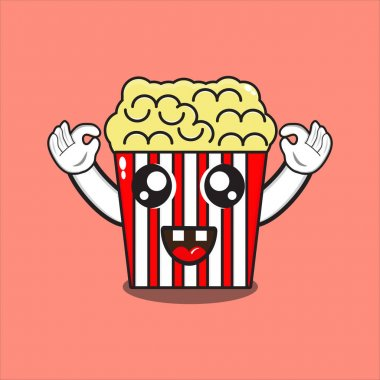 Delicious cute popcorn mascot, cute popcorn character with vector design eps 10 icon