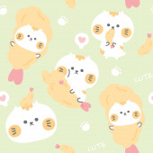 Seamless pattern of cute cat with tempura in cartoon.Animal character design.Japan concept.Japanese food.Background.Sticker.Wallpaper.Banner.Kid graphic.Pastel color.Kawaii.Vector.Illustration.