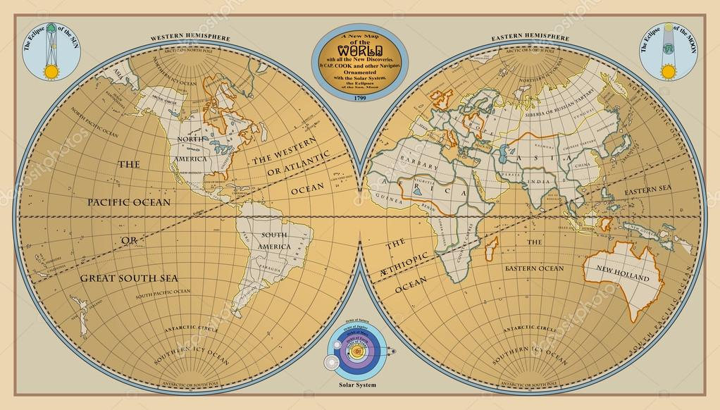Vector of old globe map of world with new discoveries of 1799 vector of old globe map of world with new discoveries of 1799 stock vector gumiabroncs Gallery