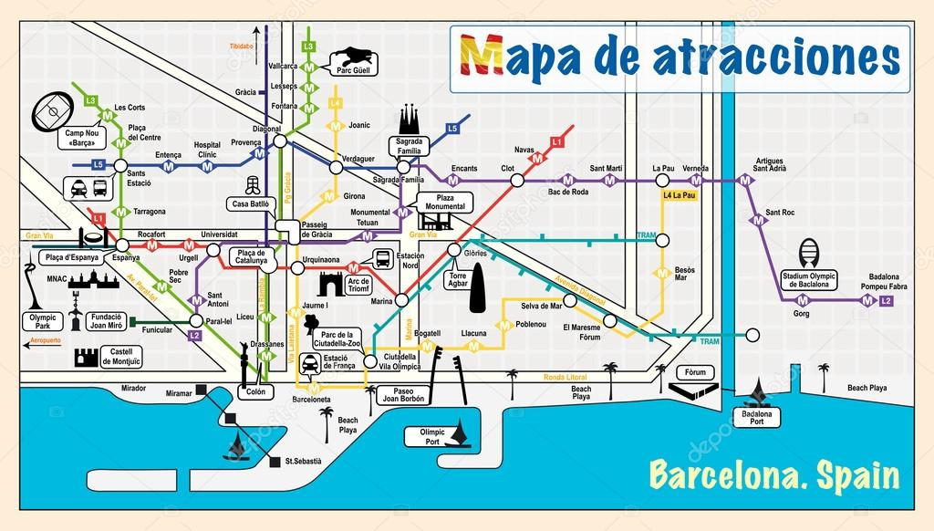 Welcome to Barcelona Attractions on map Stock Vector