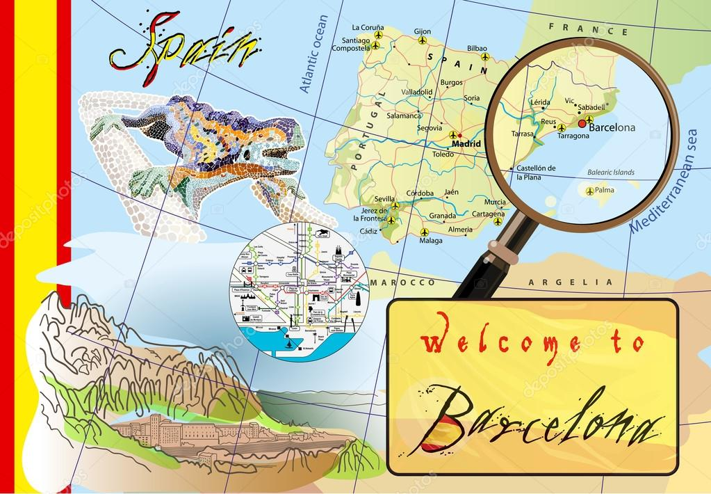 Welcome to Barcelona. Attractions on map. — Stock Vector ...