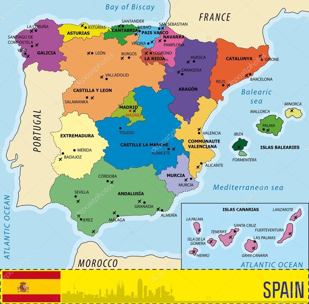 flygplatser spanien karta Detaljerad vektor karta över Spanien — Stock Vektor  flygplatser spanien karta