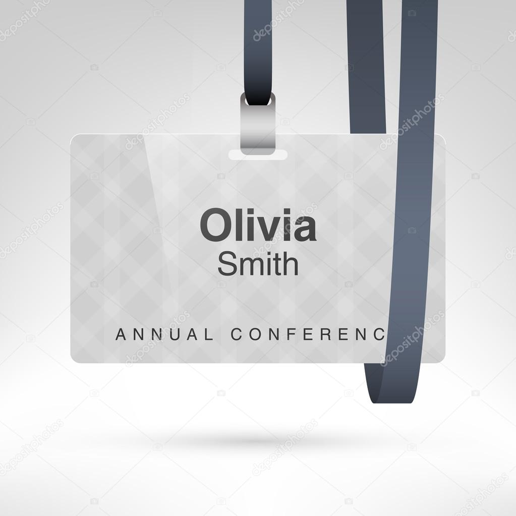 Blank Badge Template In Plastic Holder Stock Vector Whitebarbie - Conference badge design template