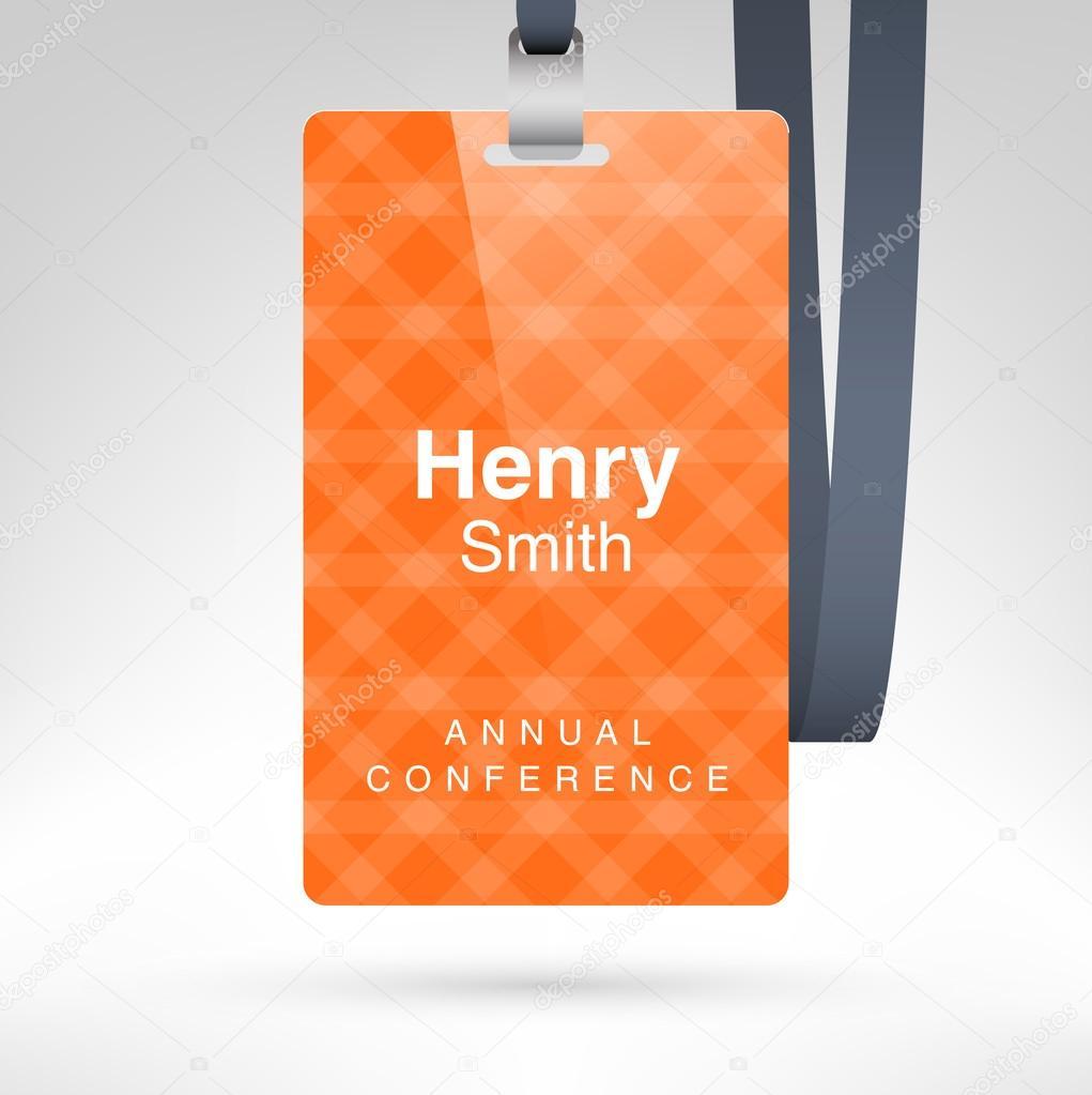 Blank badge template in plastic holder — Stock Vector © whitebarbie ...