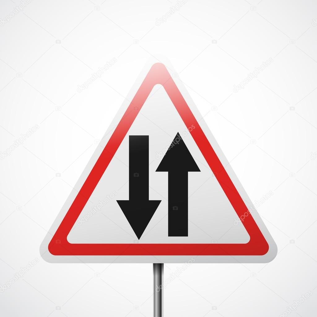 Warning Road Sign One Way Stock Vector Whitebarbie 121889478