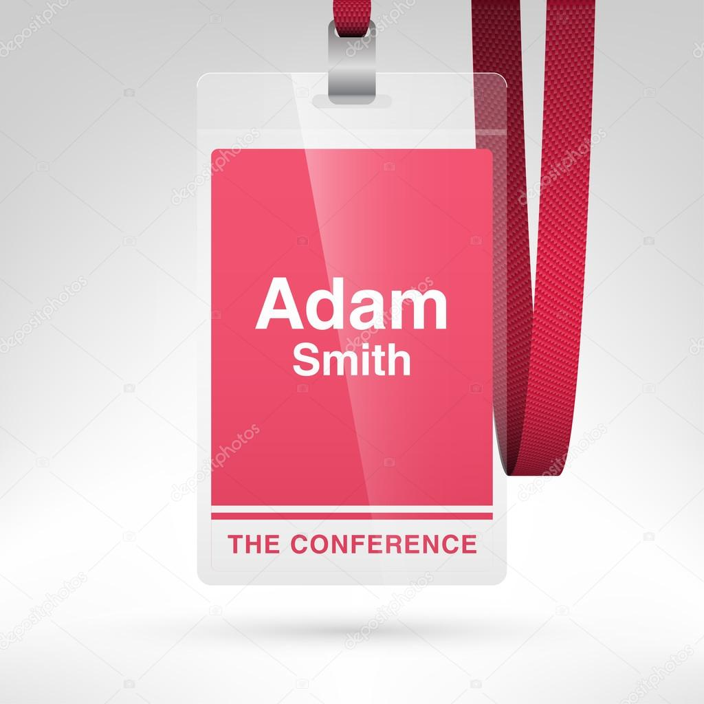 Conference Badge With Name Tag Stock Vector Whitebarbie - Conference name badges template