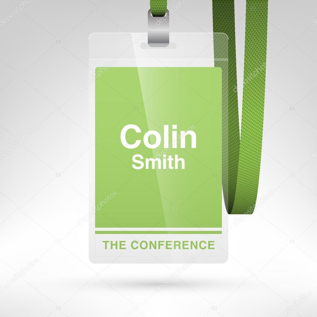 Tarjeta de identificación de conferencia con etiqueta de nombre ...