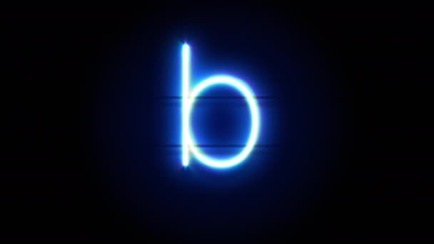 Neon font letter B lowercase appear in center and disappear after some time. Loop animation of blue neon alphabet symbol