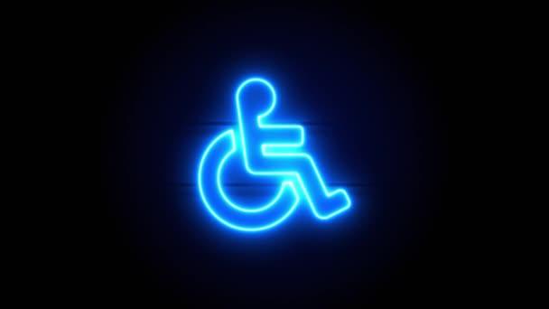 Die Leuchtreklame für Rollstuhlfahrer erscheint in der Mitte und verschwindet nach einiger Zeit. Animiertes blaues Neon-Symbol auf schwarzem Hintergrund. Looping-Animation