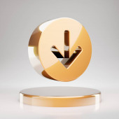 Arrow Circle Down icon. Yellow Gold Arrow Circle Down symbol on golden podium. 3D rendered Social Media Icon.