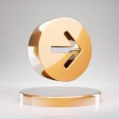 Arrow Circle Right icon. Yellow Gold Arrow Circle Right symbol on golden podium. 3D rendered Social Media Icon.