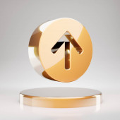 Arrow Circle Up icon. Yellow Gold Arrow Circle Up symbol on golden podium. 3D rendered Social Media Icon.