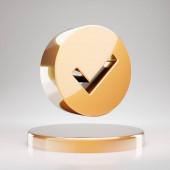 Check Circle icon. Yellow Gold Check Circle symbol on golden podium. 3D rendered Social Media Icon.