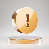 Exclamation Circle icon. Yellow Gold Exclamation Circle symbol on golden podium. 3D rendered Social Media Icon.