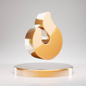 Fire icon. Yellow Gold Fire symbol on golden podium. 3D rendered Social Media Icon.