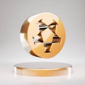 Soccer Ball icon. Yellow Gold Soccer Ball symbol on golden podium. 3D rendered Social Media Icon.