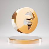 Globe Africa icon. Yellow Gold Globe Africa symbol on golden podium. 3D rendered Social Media Icon.