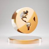 Globe USA icon. Yellow Gold Globe USA symbol on golden podium. 3D rendered Social Media Icon.